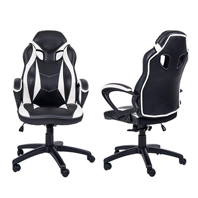 Merax Ergonomic Racing Style Pu Leather Gaming Chair Back And Front