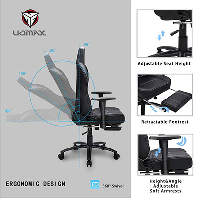 uomax gaming chair big and tall ergonomic rocking desk chair for computer review. Black Bedroom Furniture Sets. Home Design Ideas